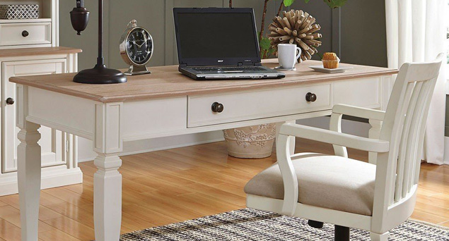 Desk with painted white legs and natural top